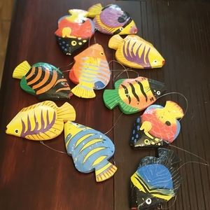 10 little hand painted wooden fish